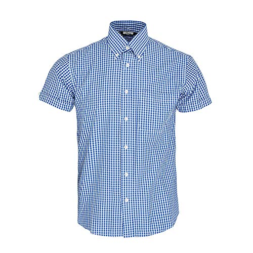 Relco Herren Blau Gingham Kurzarm Klassisch Mod Hemd 3XL