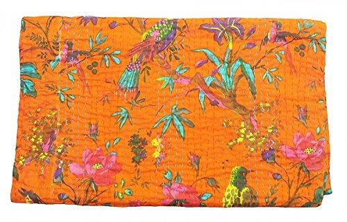PUSHPACRAFTS Manta de cama Kantha con estampado de pájaros, color naranja, tamaño King, diseño bohemio del árbol de la vida, tamaño 22,8 cm x 35,8 cm