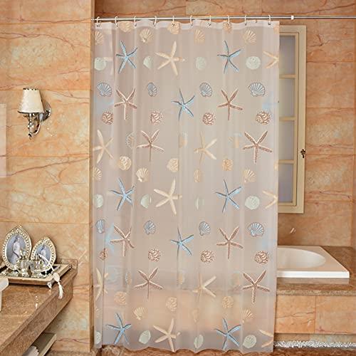 All--In Duschvorhang Transparent Antischimmel 180 x 180 cm mit Haken Wasserdicht mit Ösen (Seestern, 180 x 180 cm)