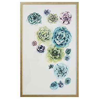 Stone & Beam Muted Succulent Print, Light Gold Frame, 20  x 32