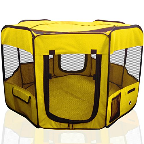 ToysOpoly 45' Indoor/Outdoor Pet Playpen Cage. Best Exercise Kennel for Your Dog, Cat, Rabbit, Puppy, Hamster or Guinea Pig. Portable Pen for Easy Travel (Yellow)