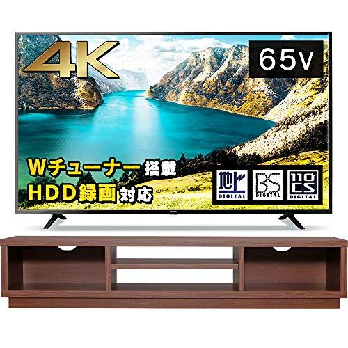 【65型テレビ+テレビ台セット】 アイリスオーヤマ 4K対応 液晶 テレビ 65インチ 65UB10P ウォールナット