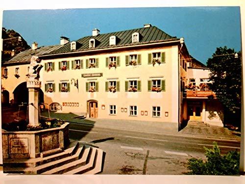 Berchtesgaden. Gasthaus Neuhaus. Inh. Franz Reiser. Alte AK farbig. ungel. ca 80 / 90ger Jahre ?. Gebäudeansicht, Straßenpartie, Brunnen.