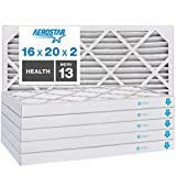 Aerostar Home Max 16x20x2 MERV 13 Pleated Air Filter, Made in the USA, Captures Virus Particles, (Actual Size: 15 1/2