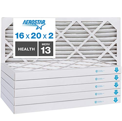 Aerostar Home Max 16x20x2 MERV 13 Pleated Air Filter, Made in the USA, Captures Virus Particles, (Actual Size: 15 1/2'x19 1/2'x1 3/4'), 6-Pack