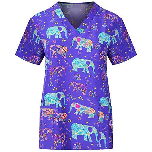 Bluse Top Frauen Kurzarm T-Shirts mit V-Ausschnitt und Taschen Arbeitskleidung (M,1Lila)