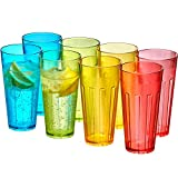 Amazing Abby - Stripe - 24-Ounce Plastic Tumblers (Set of 8), Plastic Drinking Glasses, Mixed-Color High-Balls, BPA-Free, Shatter-Proof, Dishwasher-Safe