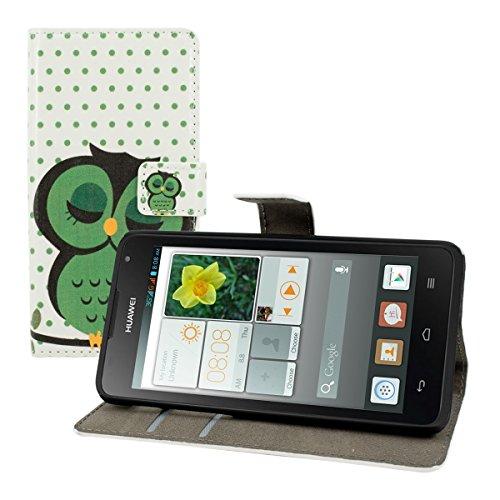 kwmobile Wallet Hülle kompatibel mit Huawei Ascend Y530 - Hülle Kunstleder mit Kartenfächern Stand Eule Schlaf Grün Schwarz Weiß