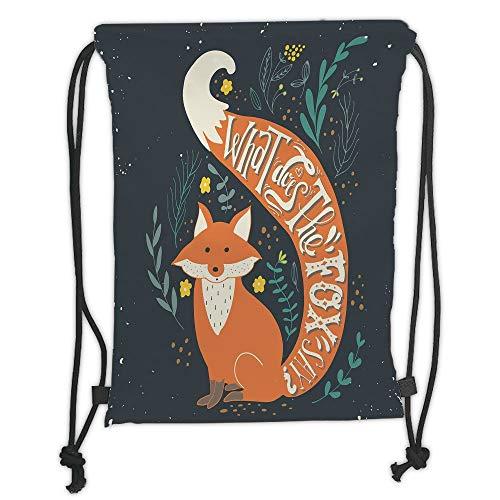 Fevthmii Rucksack mit Kordelzug, Vintage, What Does the Fox Say Zitat, Hipster-Tiere Know Better Habitat Creature Illustration, Multi Soft Satin, 5 Liter Kapazität, verstellbarer Kordelverschluss,
