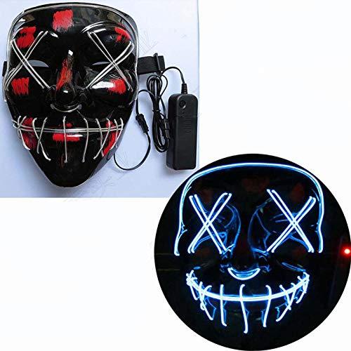 YiYuDe Masken Paintball-Schutzmasken Led Schlitz Mund Gabel Auge Horror Beängstigend Tod Abdeckung Gesicht Glühen, Standard Eisblau