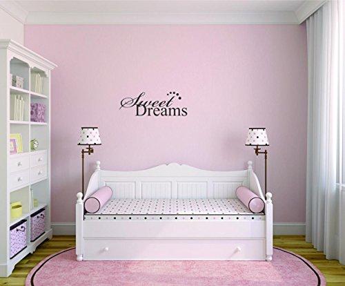Motif avec Moti 2508 1 en vinyle – Peel & Stick Sticker mural : Sweet Dreams Citation de chambre à coucher enfants Teen Boy Girl Famille Couleur : Noir Taille 20,3 x 50,8 cm