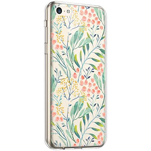 kompatibel mit iPhone 5C Hülle,iPhone 5C Handyhülle Transparent TPU Silikon Hülle Case Cover Blumen Flower Muster Ultra Dünn Soft Schutzhülle Durchsichtige Weiche Rückschale Case Cover für iPhone 5C