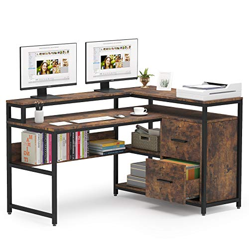 Tribesigns L Shaped Computer Desk with 2 Drawers, 59 Inch L-Shaped Desk with Storage Hutch Shelf, Study Writing Gaming Table Corner Desk with Bookshelf for Home Office