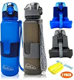 Collapsible Water Bottle/Travel Water Bottle (2Pack), 22 Oz Silicon Water Bottle/Foldable Water Bottle, Leak Proof /BPA Free For Hiking, Gym,Travel,(Black &Blue) (22oz, (BLACK & BLUE) 2PACK)