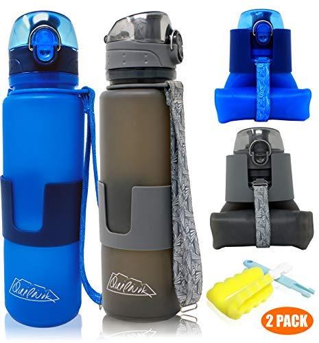 QUILIVIK Collapsible Water Bottle/Travel Water Bottle (2Pack), 22 Oz Silicon Water Bottle/Foldable Water Bottle, Leak Proof/BPA Free for Hiking, Gym,Travel,(Black &Blue) (22oz, (Black & Blue) 2PACK)