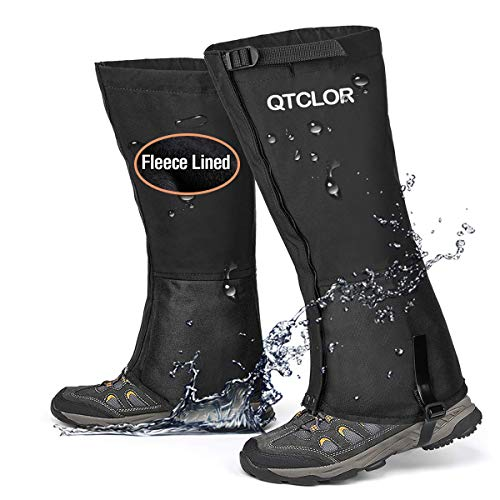 QTECLOR Leg Gaiters Waterproof Snow Boot Gaiters for Snowshoeing, Hiking, Hunting, Running, Motorcycle Anti-Tear Oxford Fabric, TPU Instep Belt Metal Shoelace Hook for Outdoor (Black Fuzzy Lined, M)