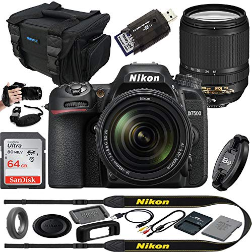 D7500 20. 9mp dslr digital camera with 18-140mm vr lens - expo essential accessories bundle