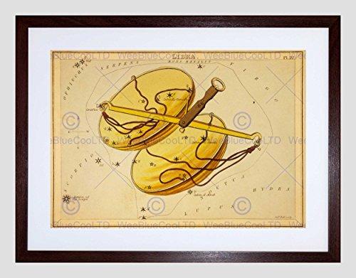 Wee Blauwe Coo Schilderijen Tekenen Ster Kaart Weegschaal Constellatie Ingelijste Muur Art Print