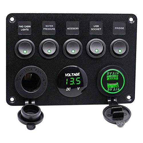 Huante 5 Gang 12V / 24V Caja de Fusibles en LíNea Panel de Interruptores LED Doble USB Coche Barco CamióN Camper