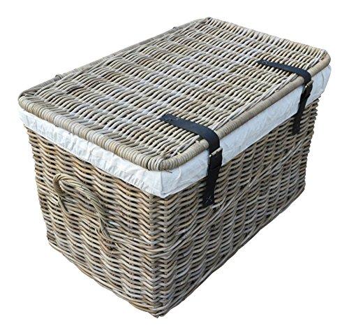 SIDANO Rattankorb mit Deckel, Flechtkorb mit Deckel/Truhe aus unbehandeltem Natur-Rattan, Rattantruhe, Grau, 90x56x55 cm (Large)