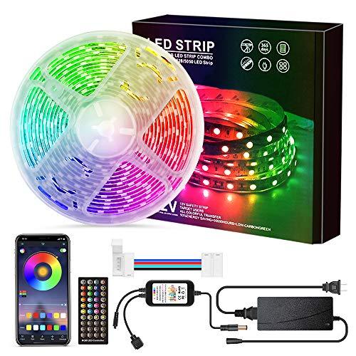 5M Bluetooth LED Strip 5050 RGB, Loekoicy 300 LED Streifen, APP Steuerbar und Fernbedienung, IP65 Wasserdicht LED Strip Light Selbstklebende Leiste kette, für Schlafzimmer, TV, Party[Energieklasse A+]