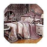 sensitives 6pc or 4pc Jacquard Bedding Sets Queen King Size Sheet Pillowcase Duvet Covet Set Artificial Silk and Cotton Lace,20161406,Queen 6pc Set