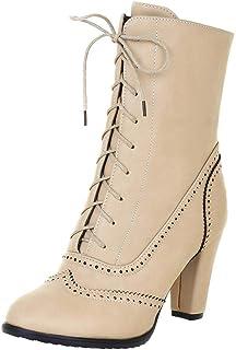 Stivali Donna Boots Classici a Punta in Pelle con Lacci e Tacco Alto