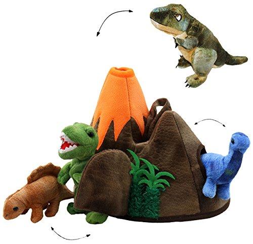 alles-meine.de GmbH XL Set _ 3 Stück Fingerpuppen + große Dinowelt - Spielset - incl. Dinosaurier / Tyrannosaurus Rex - Handspielpuppen - Handpuppe für Finger - Tiere Dino / Kasp..