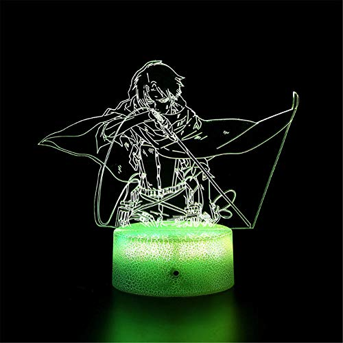 3D LED noche luz ataque a Titan I ilusión lámpara noche lámpara mesa noche controlador noche luz noche con control remoto táctil 16 cambio de color