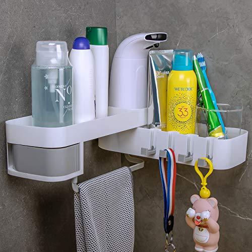 Gr8ware Duschregal Eckablage Bohren Frei, Badezimmer korb Duschkorb Teleskop , Duschgestell, Küchenablage aus Kunststoff mit Haken (Weiß, Grau)