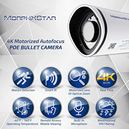 MorphXStar Security 8 Megapixel 4K Motorized AutoFocus 2.8-8mm; 3X Optical Zoom Lens Outdoor/Indoor Onvif H.265 8MP    Bullet PoE IP Camera Built-in Microphone, 120FT Night Vision - EstesM4K White