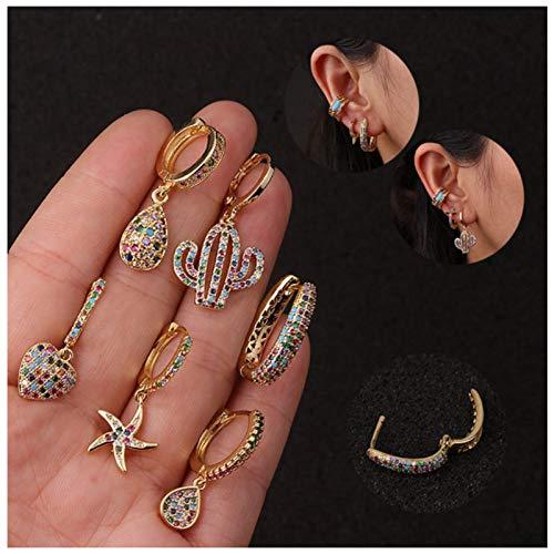QYY Aros Mini Gota Pendientes Colgantes Oro Vistoso Zirconia Cúbica Pendientes Cartílago Set Aros Huggie Simples Pequeños para Mujer Niña Regalo (6 Pares) B