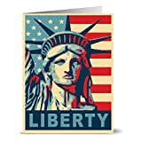 Note Card Cafe Patriotic Greeting Cards Set with Red Envelopes | 24 Pack | Blank Inside, Glossy Cover | Lady Liberty | For July Fourth, Christmas, Holidays, Birthdays, Thank Yous, Ceremonies