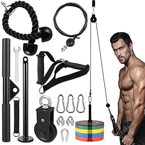 Polea de entrenamiento de antebrazos, máquina de polea de fitness ajustable para entrenamiento de fuerza de brazos para hombres y mujeres gimnasio en casa entrenamiento de bíceps sistema de poleas