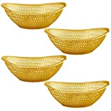 "Large Plastic Gold Bread Baskets - 4 Pack Reusable 12"" Oval Food Storage Basket - Elegant Modern Décor for Kitchen, Restaurant, Centerpiece Display - by Impressive Creations"