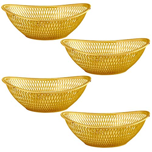 "Large Plastic Gold Bread Baskets - 4 Pack Reusable 12"" Oval Food Storage Basket - Elegant Modern Décor for Kitchen, Restaurant, Centerpiece Display - by Impressive Creations"