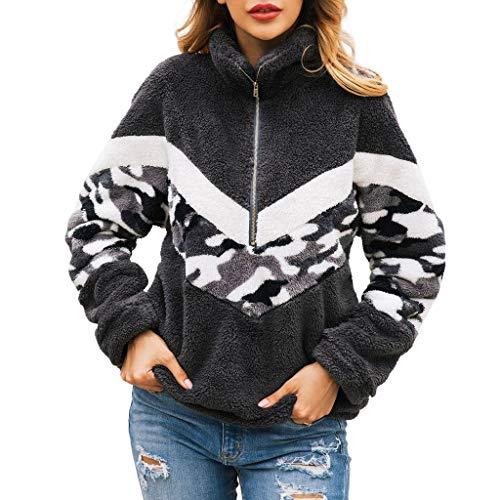 KPPONG Pullover Damen Teddy-Fleece Reißverschluss Sweatshirt Tarnmuster Plüsch Pulli Warm Fleecejacke Warm mit Taschen