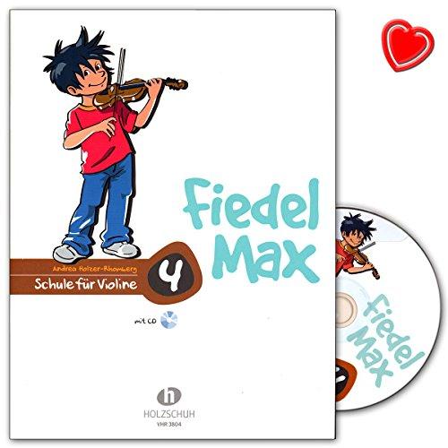 Fiedel-Max school voor viool band 4 met CD en kleurrijke hartvormige muziekklem - Alfons houten schoen muziekverlag - VHR3804-9783920470450
