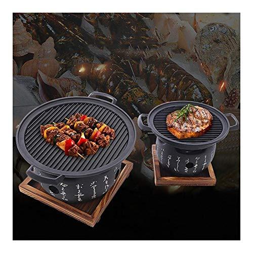 PULLEY-S Tragbarer Holzkohlegrill - Essen Grillplatte Edelstahl Grill Heimgrill Werkzeuge Zubehör Grill Gemüse Antihaft-Grillschale, Spare Ribs und viele andere Lebensmittel S (Size : 20cm)