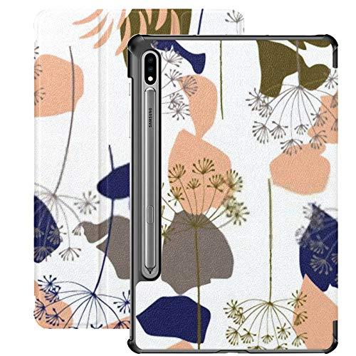 Funda Galaxy Tablet S7 Plus de 12,4 Pulgadas 2020 con Soporte para bolígrafo S, Vector Floral orgánico Fondo Abstracto sin Costuras Funda Protectora con Soporte Delgado para Samsung