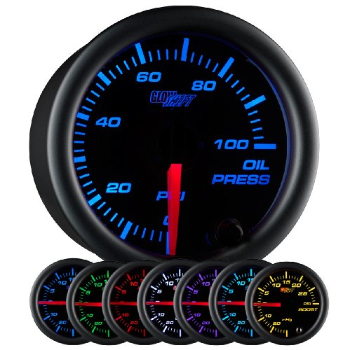 GlowShift Black 7 Color 100 PSI Oil Pressure Gauge Kit - Includes Electronic Sensor - Black Dial - Clear Lens - for Car & Truck - 2-1 16  52mm