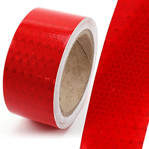 10M*5CM Reflektorband Klebeband Warntafel Warnmarkierung Warnklebeband Sicherheit Markierung Band Rot Streifen Reflexfolie Selbstklebend