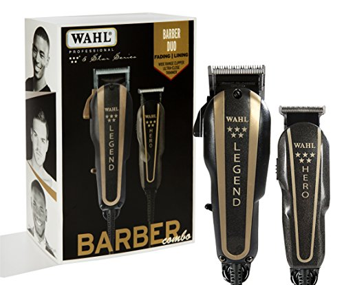WAHL Professional 5-Star Barber Combo #880 Features a New Look 5-Star Legend Clipper and Hero T-Blade Trimmer, Black 1.0 Count