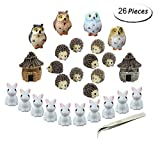 Fashionclubs Miniature Garden Ornaments, 24pcs Miniature Ornaments Kit Set Fairy Garden Figurines Accessories...