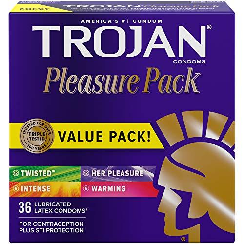 Trojan Pleasure Variety Pack Lubricated Condoms - 36 Count