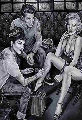 FS Pinup Audrey Hepburn Marilyn Monroe James Dean - Cartel de chapa arqueado (20 x 30 cm)