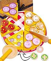 JOUETS POUR TODDLERS ENGAGANTS ET INTERACTIFS - Nos kits de nourriture pour enfants Pizza Jouer à comprennent une grande pizza coupée en 6 tranches, chaque tranche est dotée d'une garniture différente avec des fermetures velcro pour que les enfants p...