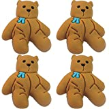 Four (4) of Teddy Bear Blue Ribbon Rubber Charms for Wristbands and Shoes