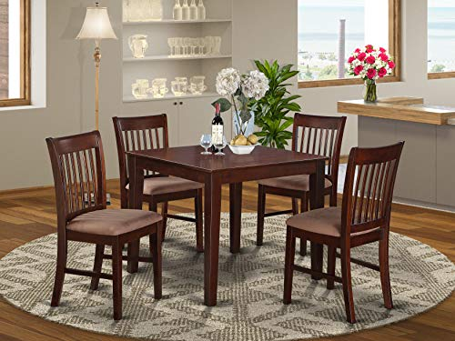 OXNO5-MAH-C 5 Pc Kitchen Table set - square Table and 4 Dining Chairs