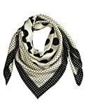Pantonight Polka Dot Pure Silk Square Scarf Women 14MM Hand Rolling Edge Silk Twill Scarf for Women White 459